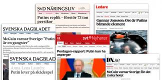 Svenska mediers propaganda om Putin. Montage: NewsVoice