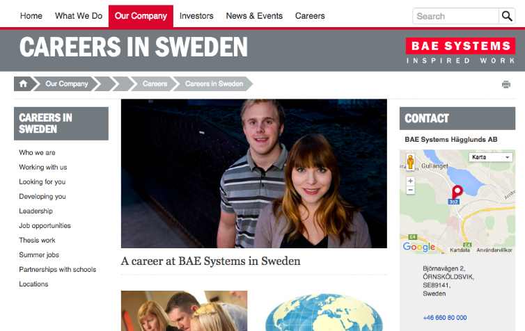 BAE Systems careers in Sweden
