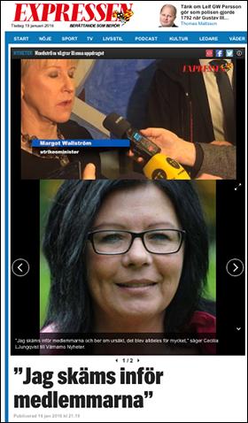 Expressen - Jag skäms inför medlemmarna jan 2016