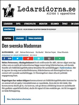 Ledarsidorna: Den svenska madonnan