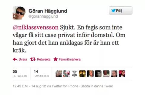 Göran Hägglund, KD, Twitter