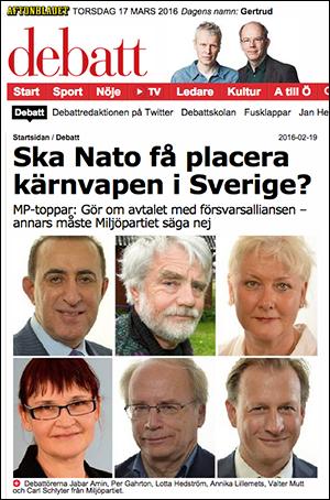 NATO-kärnvapen i Sverige - Aftonbladet, 2016