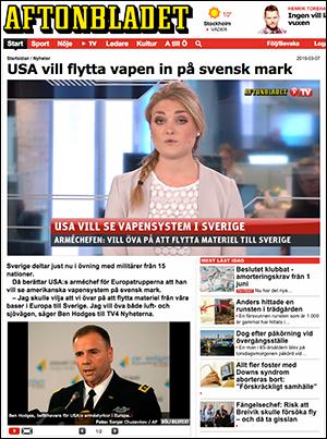 USA-vapen på svensk mark, Aftonbladet, 2016
