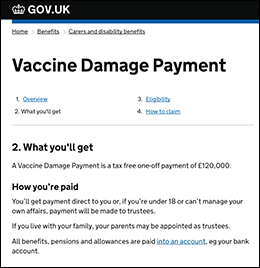 Britain Department of Health vaccine damage