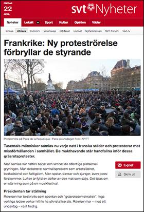 Frankrike, Nuit Debout 2016, SVT