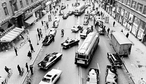 Högertrafik införs 1967,   Kungsgatan,   Stockholm