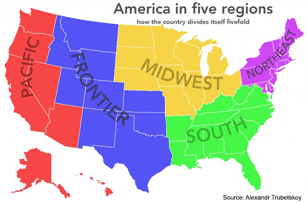Five US Regions - Source: Alexandr Trubetskoy