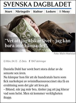 SvD 9 maj 2016 om narkolepsi - Foto: Malinhoelstad.se