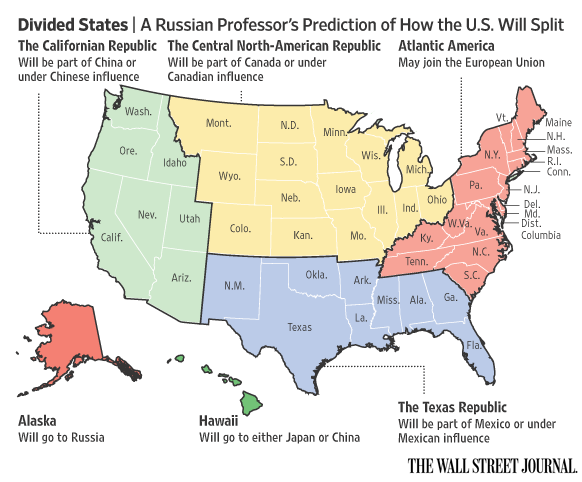 USA devided into five regions - Source: WSJ