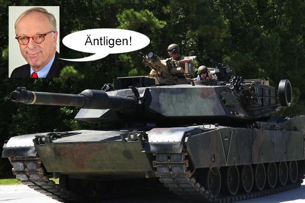 Gunnar Hökmark är lycklig idag - Abrams tank - Bild: kollage
