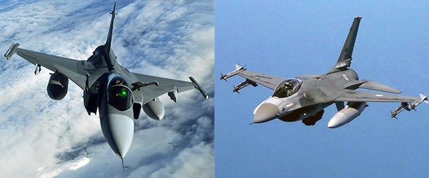 JAS-39 Gripen (tv) och F16 (th)