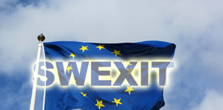 Swexit - EU-flagga, montage, Wikimedia-Commons