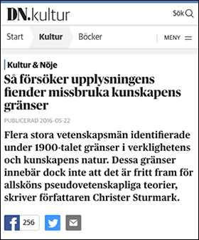 Christer Sturmark, DN 2016, om kunskapsens gränser