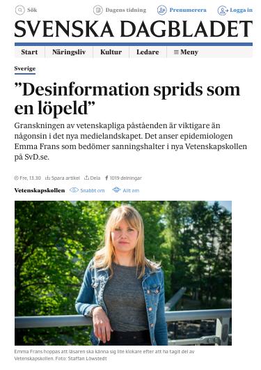 Emma Frans,   SvD, Vetenskapskollen