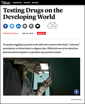 Testing drugs on the developing world - The Atlantic