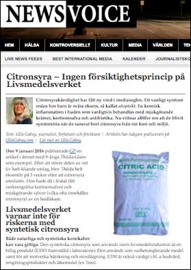 Citronsyra och Livsmedelsverket, Ulla Gabay