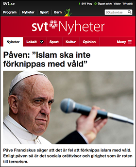 Franciskus Islam SVT 2016