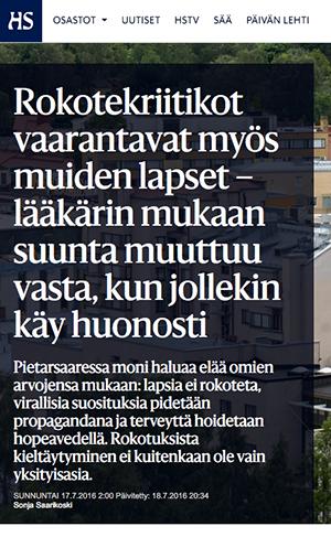Helsingin Sanomat vaccin juli2016
