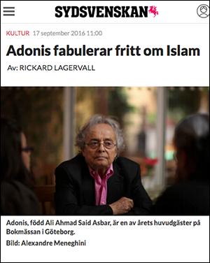 Sydsvenskan,   Rickard Lagervall om Adonis