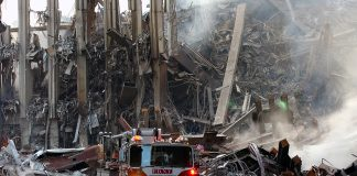 Ground Zero efter WTC 911 i New York den 16:e september 2001