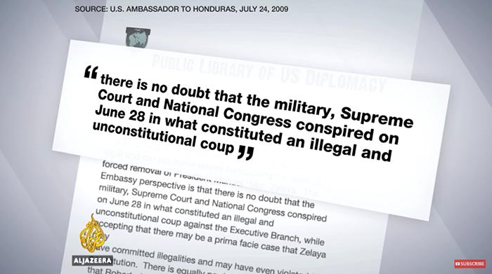 Kuppen i Honduras 2009 - Wikileaks, Al Jazeera