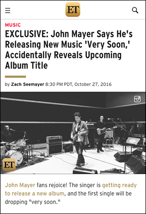 John Mayer announce new album 2016
