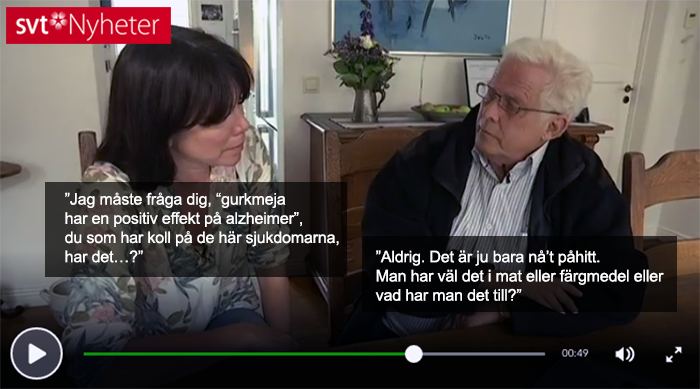 Lennart Minthon och SVT diskuterar gurkmeja - Foto: SVT,   skärmdump