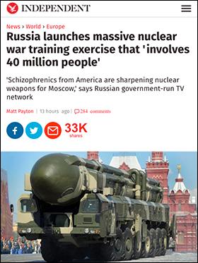 Rysk enorm militärövning oktober 2016 - Indenpendent