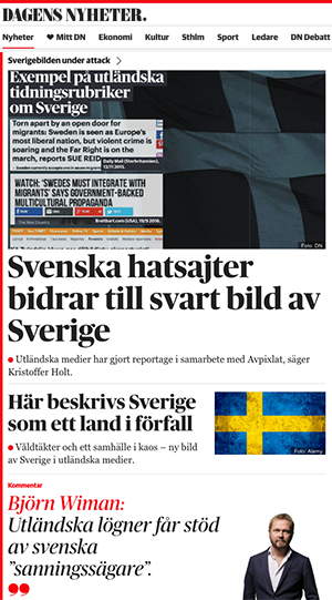 Sverigebilden under attack, DN, 2016