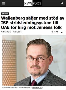 Wallenberg och ISP i samverkan för SABB:s vapenförsäljning till dikatur - 2016