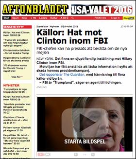 """Aftonbladet om """"hatet"""" från FBI mot Hillary Clinton 4 nov 2016"""