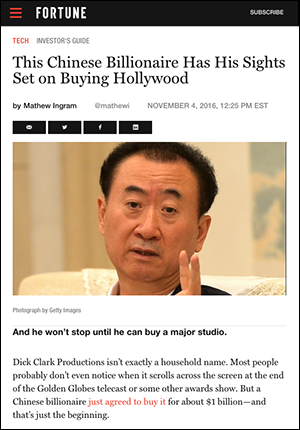 Chinese billionaire buys Hollywood - Fortune