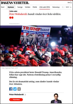 Peter Wolodarski om Donald Trump den 9 nov 2016