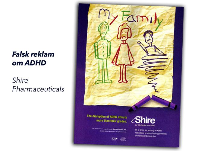 Exempel på falsk reklam om ADHD-mediciner från Shire Pharmaceuticals