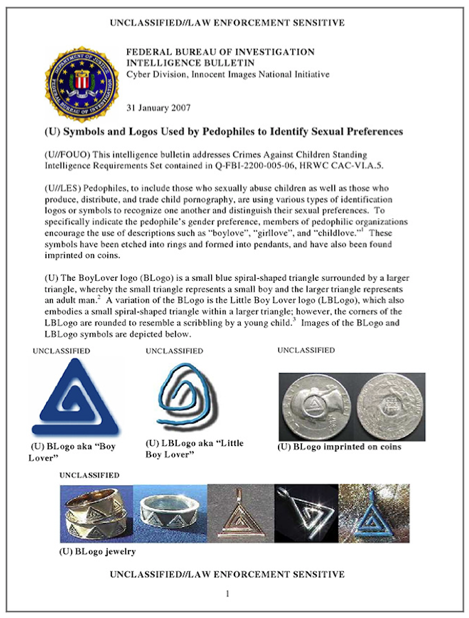 FBI report on pedophile symbols - 2007 - page 1