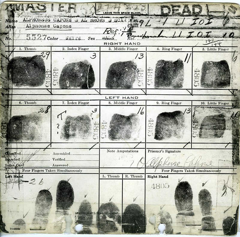 Picture: Al Capone's fingerprint card