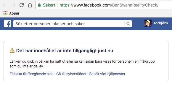 Ben Swanns Facebook-sida nedstängd 2 februari 2017