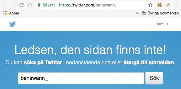 Ben Swanns Twitter-konto nedstängt 2 februari 2017