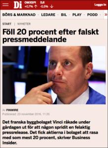 Falska pressmeddelanden, DI.se