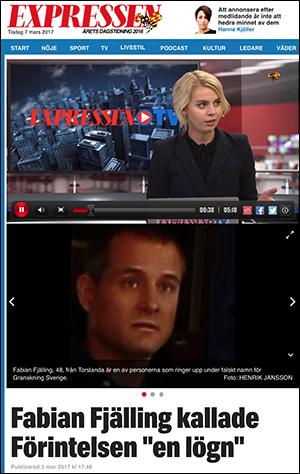 Expressen intervjuade Fabian Fjälling den 3 mars 2017