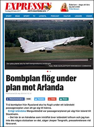 """Expressen: """"Bomplan flög under plan mot Arlanda"""""""