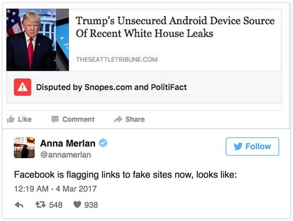 En av Facebooks första varningar för fake news dvs disputed news
