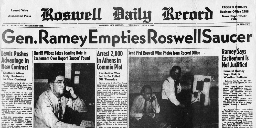 Roswell Daily Record om Roswell-incidenten - July 9, 1947