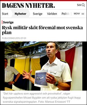 Ryssland sköt föremaål mot svenska plan, DN 2015