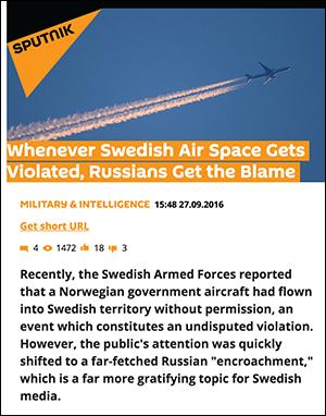 Skärmdump: Sputnik News om flygkränkningar, september 2016