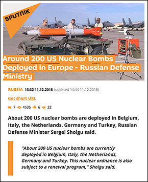 US nuclear bombs in Europe, Sputnik News, 2015
