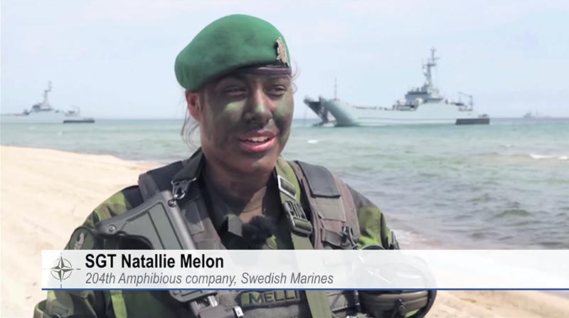 NATO Baltops sergeant Natalie Melon från svenska 204:e Amfibiekompaniet