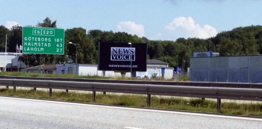 NewsVoice gjorde reklam på storbildsskärm vid E6:an perioden juli-augusti 2017