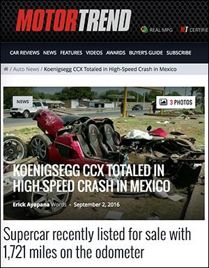 Koenigsegg kraschad - Skärmdump från MotorTrend