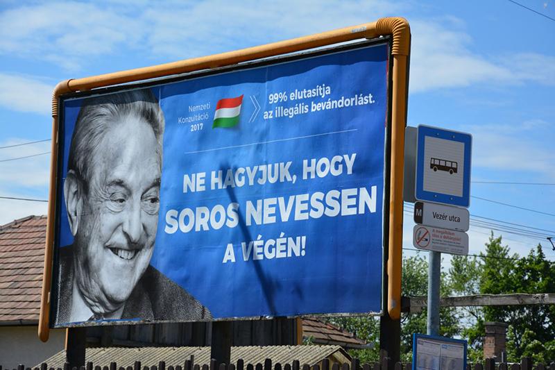 Affisch mot Soros försök att muslimifiera Europa, 2017 Foto: Budapest Business Journal